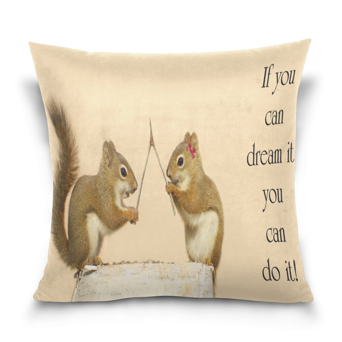 """GIOVANIOR Inspirational Quote With Squirrles Ans Wishbone Pattern Decorative Throw Pillowcase Cushion Pillow Cover 16"""" x 16"""" for Couch, Bed, Sofa or Patio - Only Case, Double Sides, No Insert"""