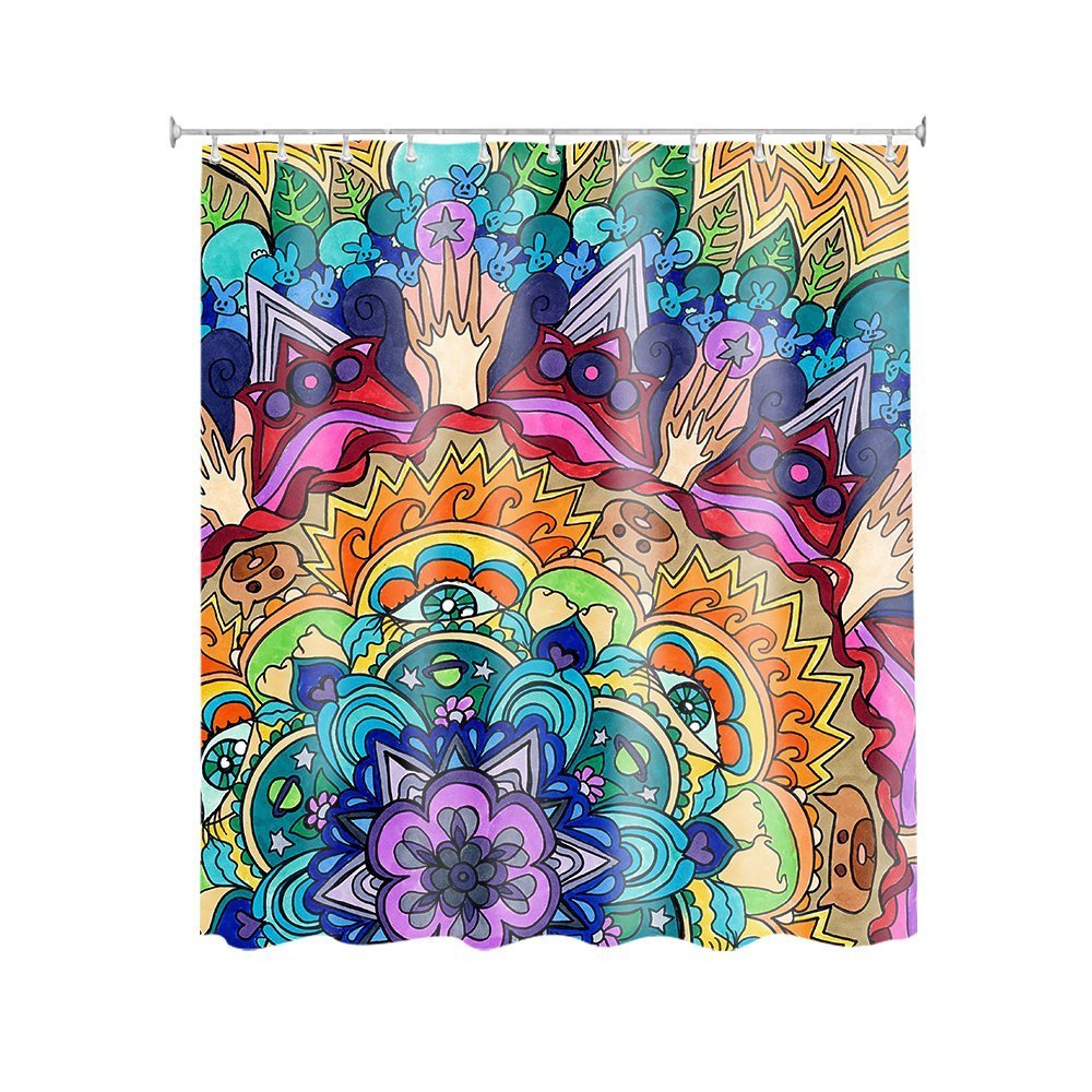 General Lotus Blossom Customize Waterproof Polyester Fabric Bathroom Shower Curtain 6672 inch