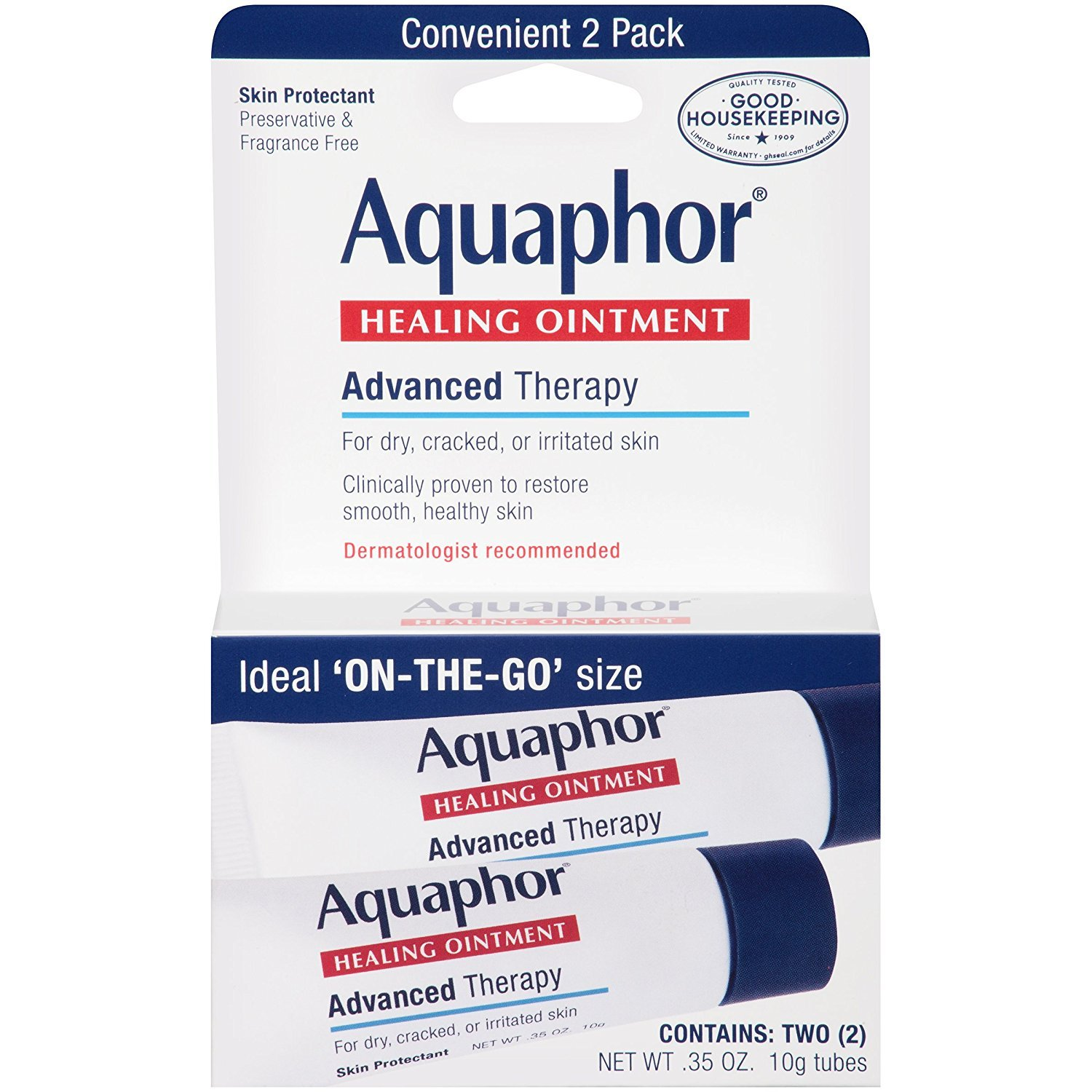 Aquaphor Healing Ointment 2 Count 0.35 Ounce (10ml) (6 Pack)