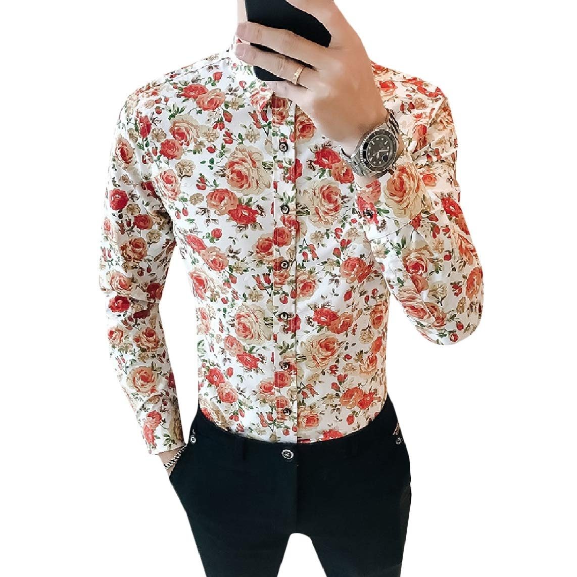 GodeyesMen Slim Fit Leisure Business Printing Long Sleeve Oxford Shirt