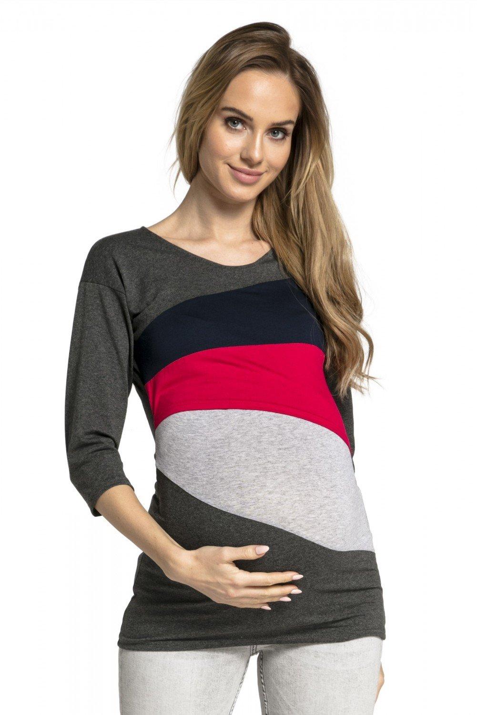 HAPPY MAMA Mujer Top Camiseta Premamá Lactancia Bloque De Color Doble Capa 217p nursingtop_217