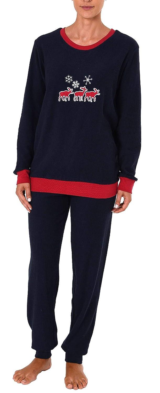 RELAX by Normann Damen Frottee Pyjama Schlafanzug Langarm mit B/ündchen und s/üssem Mond Motiv 61238