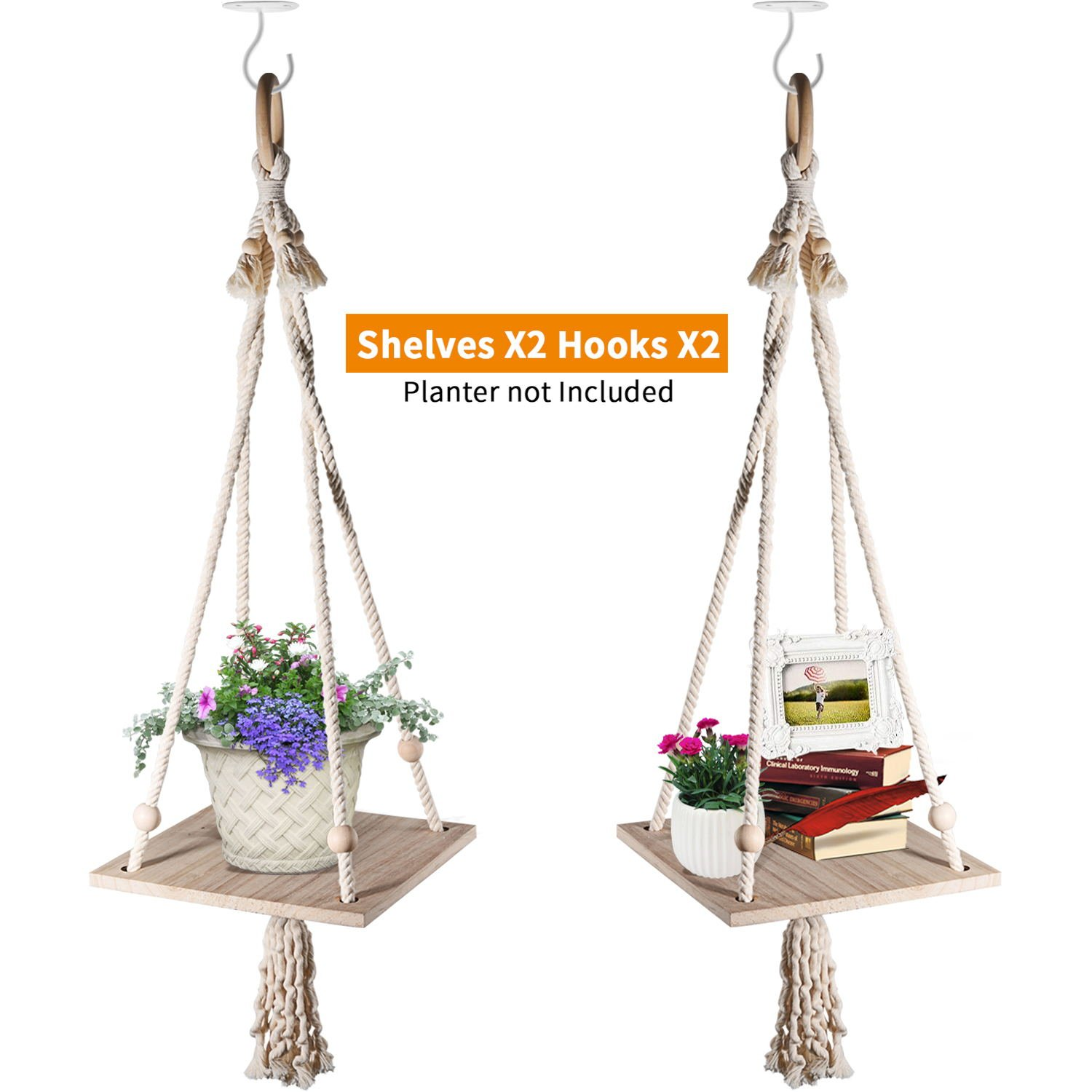 Macrame Hanging Planter Shelf Flower Pot Holder Succulent Plants Hanger with Wooden Plant Stand Indoor Outdoor Boho Home Decor 43 inches by Homenote(Pack of 2) by HomeNote