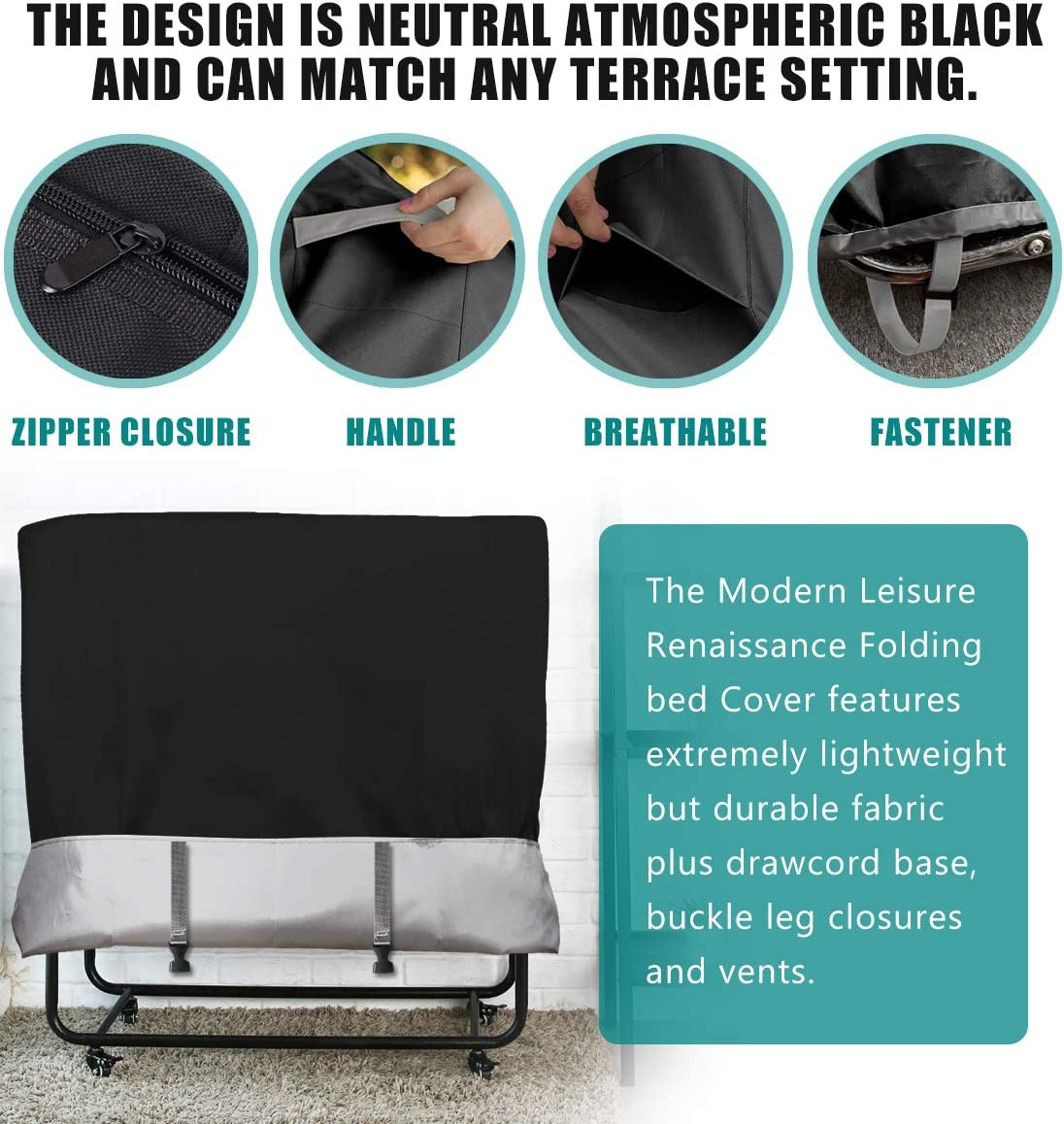 WES Folding Bed Dustproof Cover Protective Cover for Indoor Outdoor Adjustable Waterproof Protector Multifunctional Cover Black