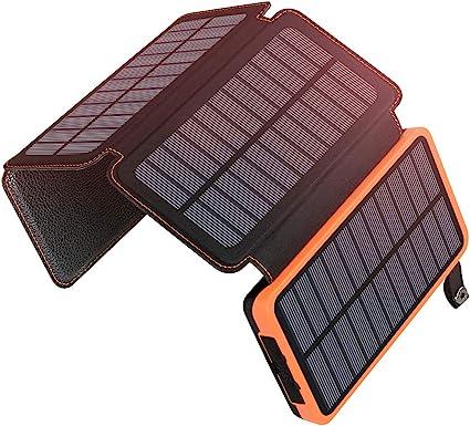 ADDTOP Solar Powerbank 25000mAh Tragbare Solar Ladegerät mit 4 Solarpanels, Outdoor wasserfester externer Akku mit 2 USB Ports für iPhone, Samsung,
