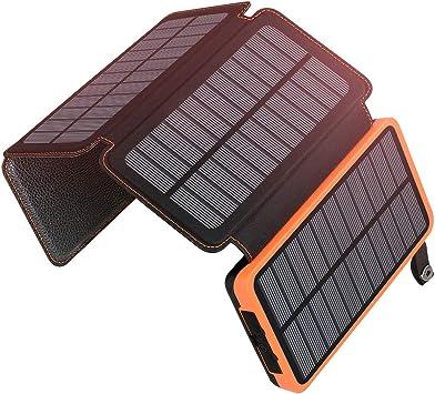 A ADDTOP Cargador Solar 25000mAh Power Bank Portátil con 2 Ports 2.1A Output Batería Externa Impermeable con 4 Paneles Solar para iPhone, iPad y ...