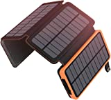 ADDTOP Solar Charger 25000mAh, Portable Power Bank with 2.1A Output 4 Solar Panels Battery Pack Compatible with All Smartphone, Tablet, Waterproof