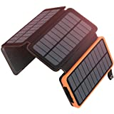 Solar Charger 25000mAh, ADDTOP Solar Power Bank High Capacity with 4 Solar Panels Fast Charge Portable Battery Pack Dual Ports 2.1A Output Compatible with All Smartphone, Tablet, Outdoor Travelling(92.5Wh)