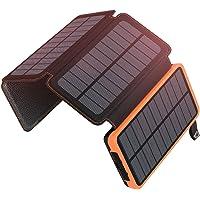 ADDTOP Cargador Solar 25000mAh Power Bank Portátil con 2 Ports 2.1A Output Batería Externa Impermeable con 4 Paneles Solar para iPhone, iPad y Samsung Galaxy y más