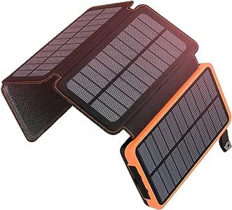 A ADDTOP Cargador Solar 25000mAh Power Bank Portátil con 2 Ports 2.1A Output Batería Externa Impermeable con 4 Paneles Solar para iPhone, iPad y Samsung Galaxy y más