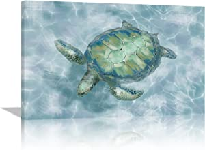 Bathroom Pictures for Wall Sea Turtle Decor Coastal Wall Decor Canvas Framed Wall Art for Bathroom Bedroom Home Decorations Modern Blue Coastal wall decor Blue Green Sea Turtle Ready to Hang 12x16