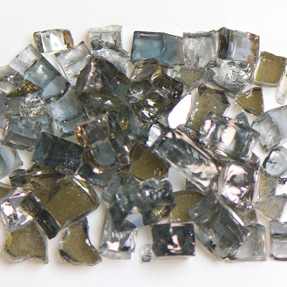 My Fireplace Glass - 10 Pound Terrazzo Chip Fireplace Glass - Size 2, 1/4 - 3/8 Inch, Gray Reflective