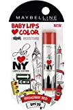 Maybelline Alia Loves New York Baby Lips Lip Balm, Broadway Red, 4g