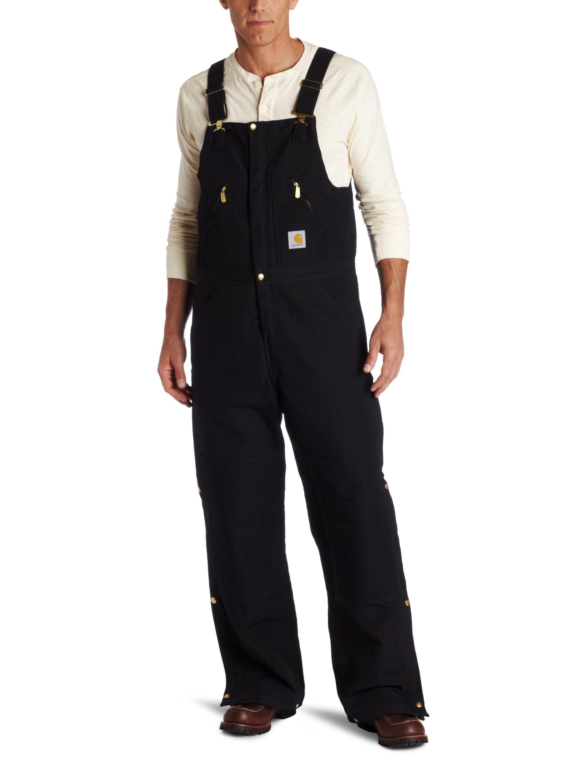 Carhartt Men's Quilt Lined Zip To Waist Biberalls,Black,40 x 32