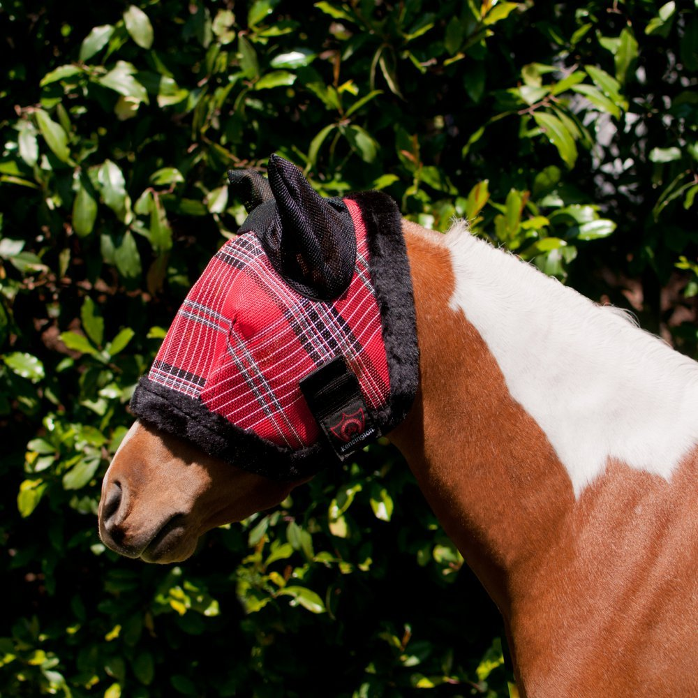 Kensington Mini A - Under Fly Mask with Fleece & Soft Mesh Ears, Deluxe Red, 34''