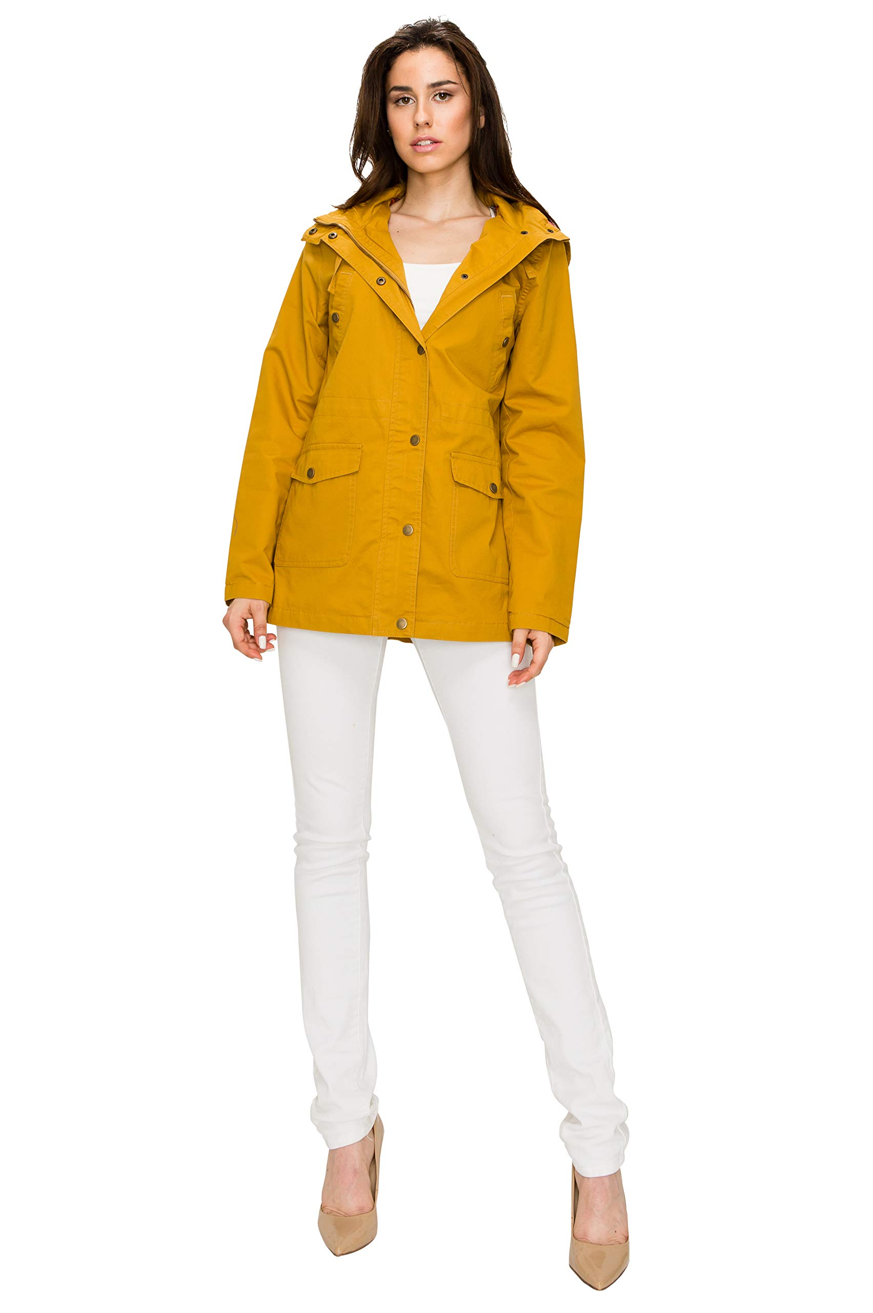Lock and Love WJC1862 Womens Casual Safari Anorak Jacket with Hoodie 3X Mustard