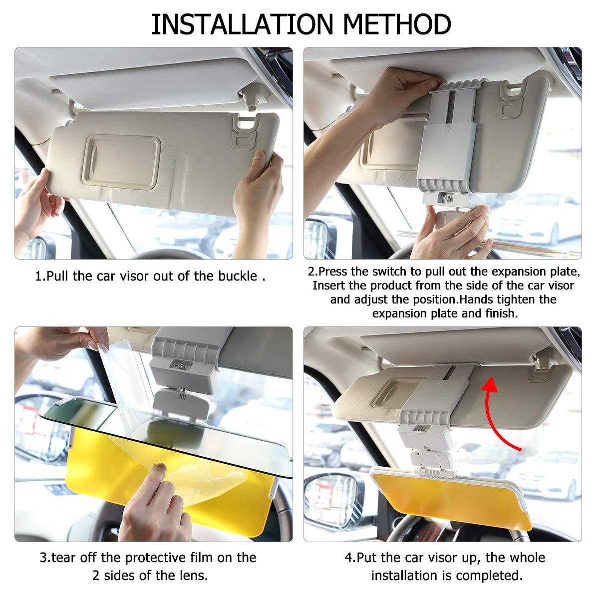 Universal Size 2 in 1 Anti-Glare Visor Day and Night Car Visor Mirrior Extender TONBUX Car Sun Visor
