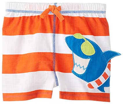 f06a0dd631 Amazon.com: Mud Pie Baby Boys' Shark Swim Trunks, Red, Small/12-18 ...
