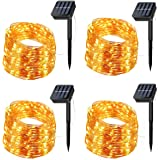 Solar String Lights, 4 Pack 200 LED Solar Fairy Lights 66 Feet 8 Modes Copper Wire Lights Waterproof Outdoor String…