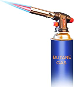 BUTANE TORCH, JaAeIn Kitchen Culinary Torch, Cooking Torch, Blow Food Torch with Adjustable Flame for Sous Vide, Desert, Camp Fire, Camping, BBQ, and more (Butane Gas Not Included)