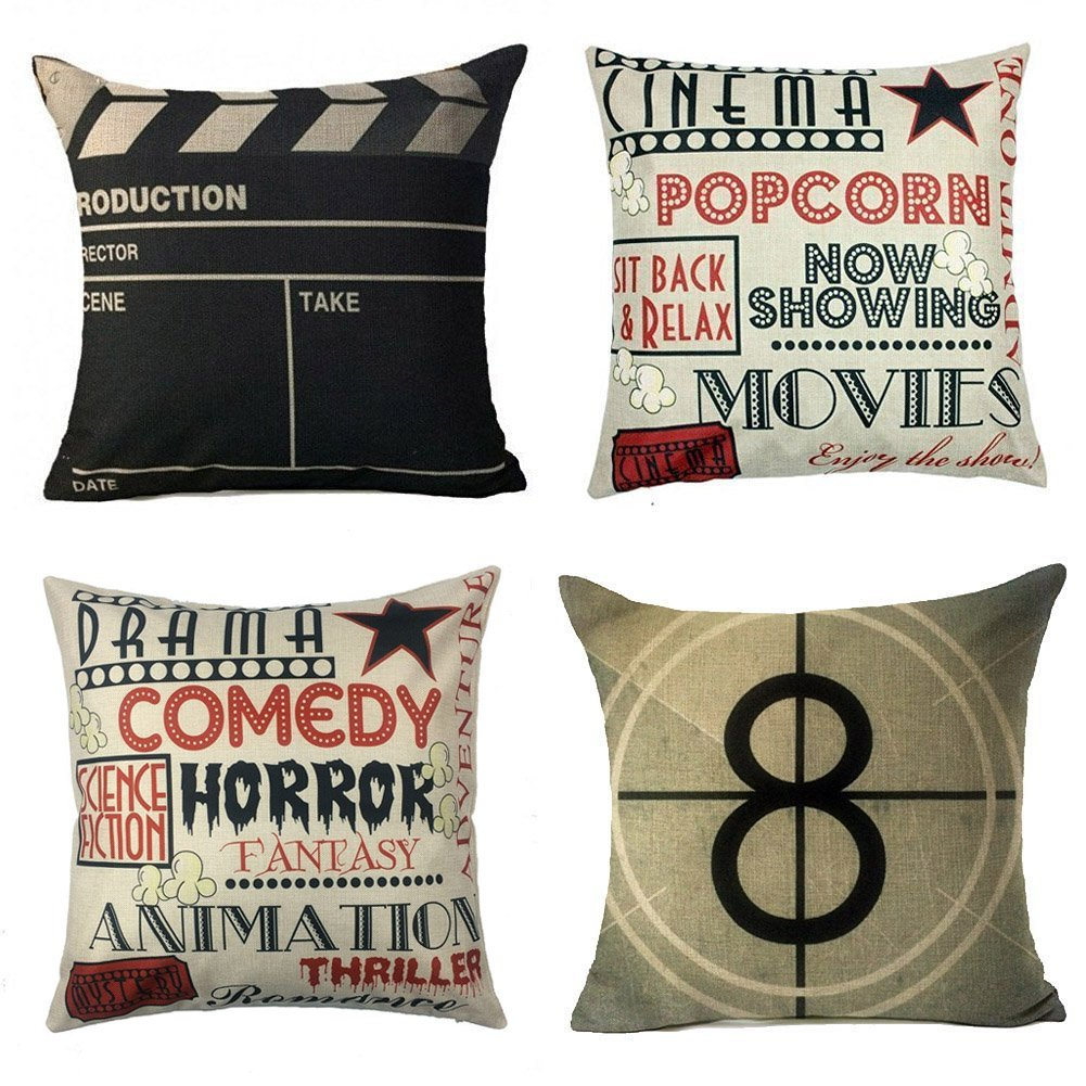 Amazon YOENYY Movie Theater Cinema Personalized Home Decor Design Throw Pillow Cover Case 18 X Inch Cotton Linen For Sofa Set Of 4