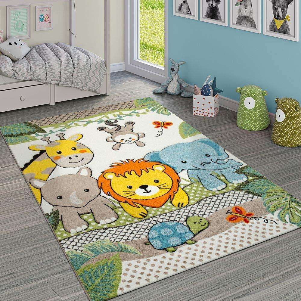 Tappeto per Cameretta dei Bambini Grazioso Animali dello Zoo Locomotiva Giungla Effetto 3-D Verde Dimensione:80x150 cm