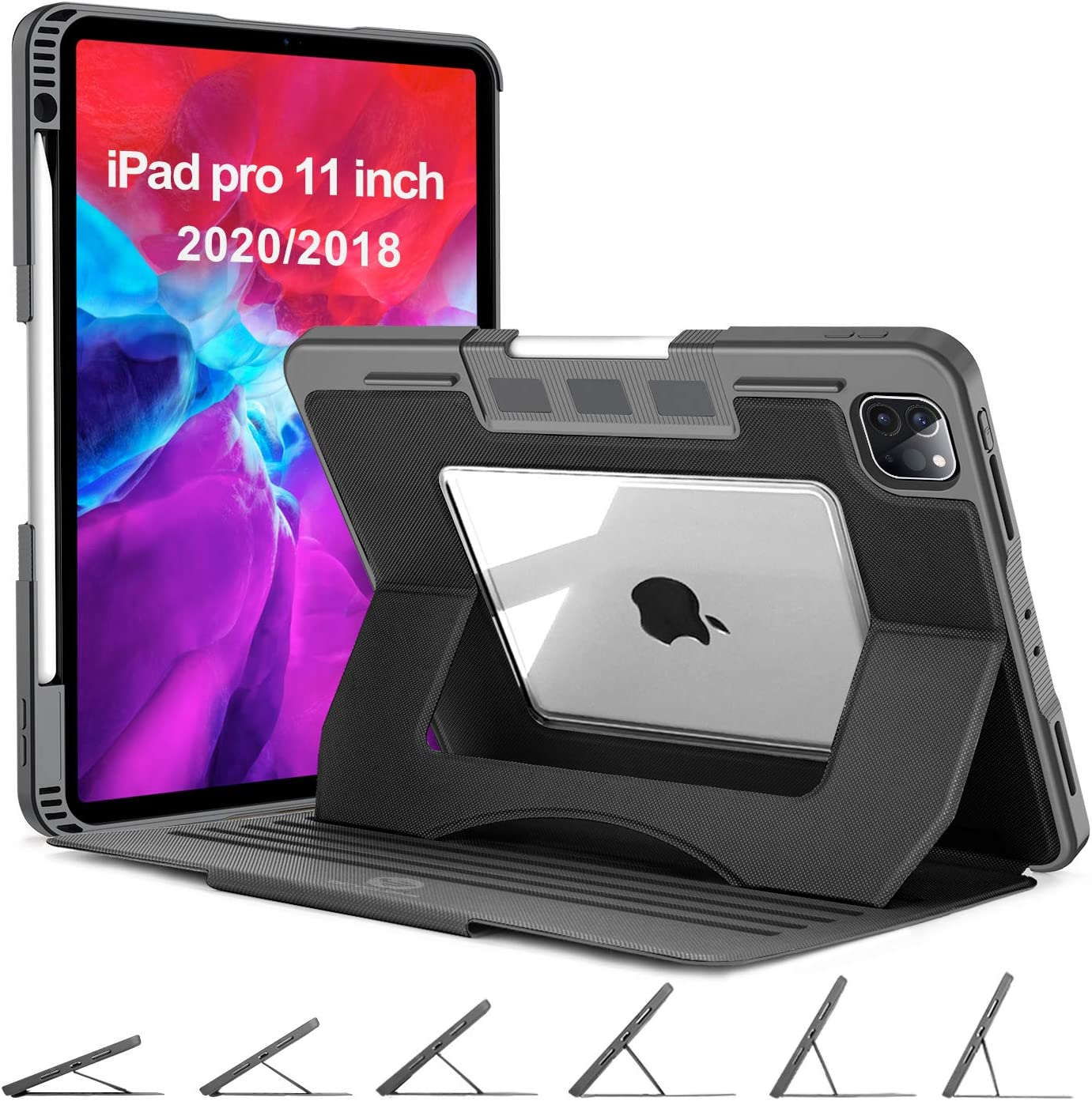 OCYCLONE iPad Pro 11 Case 2020, 6 Viewing Angles Magnetic Stand + Apple Pencil Holder + Auto Wake/Sleep + Clear Back Heavy Duty Rugged Protective Case for iPad Pro 11 inch 1st/2nd Generation - Black