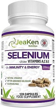 SELENIO 200 MCG - Selenio de Alta Calidad + Vitaminas A, C, E Natural - Suplementos de Tiroides,