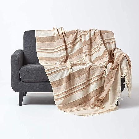 HOMESCAPES Funda de sofá o Manta Hecha a Mano, a Rayas Color Beige, 100% algodón, 255 x 360 cm: Amazon.es: Hogar