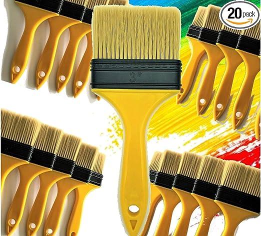"24 pc 3/"" Chip Brush Brushes Paint Glue Touchups 100/% Pure Bristle"