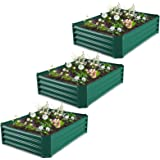 Flowers GROWNEER 5.7 x 3 ft Green Metal Raised Garden Bed with 1 Pair of Gloves and 15 Pcs Plant Labels Herbs Fruits Elevated Planter Box for Vegetables