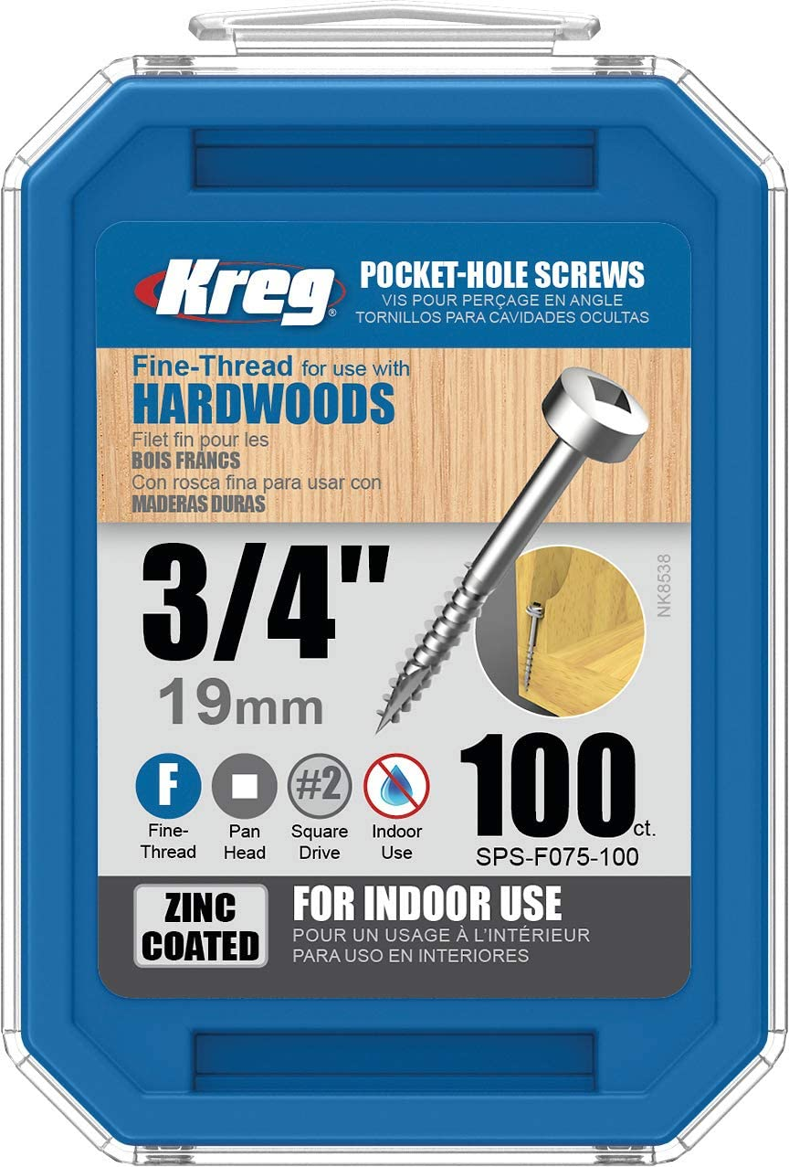 100-Count Kreg SPS-F075-100 0.75 inch No.6 Fine Thread Pan Head Pocket Screws