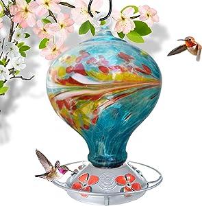 Grateful Gnome - Hummingbird Feeder - Hand Blown Glass - Blue Egg with Flowers - 36 Fluid Ounces