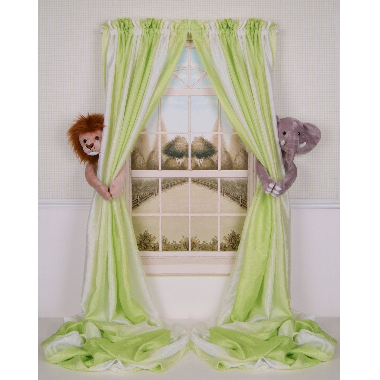 Curtain Critters- Plush Jungle Safari Elephant And Lion Curtain Tieback, Car Seat, Stroller, Crib Toys Collector Set Curtain Critters Inc.