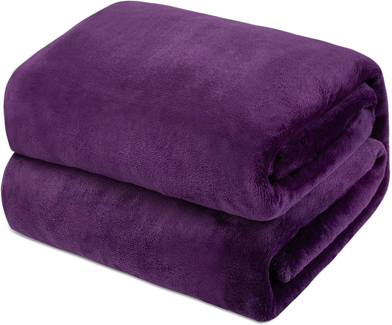 Mantas de Franela 150x200cm Súper Suaves Esponjosas para El Sofá Cama Colcha de Microfibra,tamaño Doble/Matrimonio, Púrpura