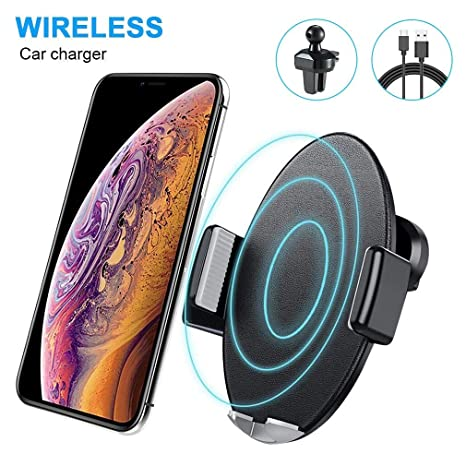 Cargador Inalámbrico Coche, AURSEN Qi Wireless Cargador Rápido Car Soporte Móvil,10W para Samsung S9 /S9 Plus/ S8/ S8 Plus,7.5W para iPhone X/iPhone 8/ ...