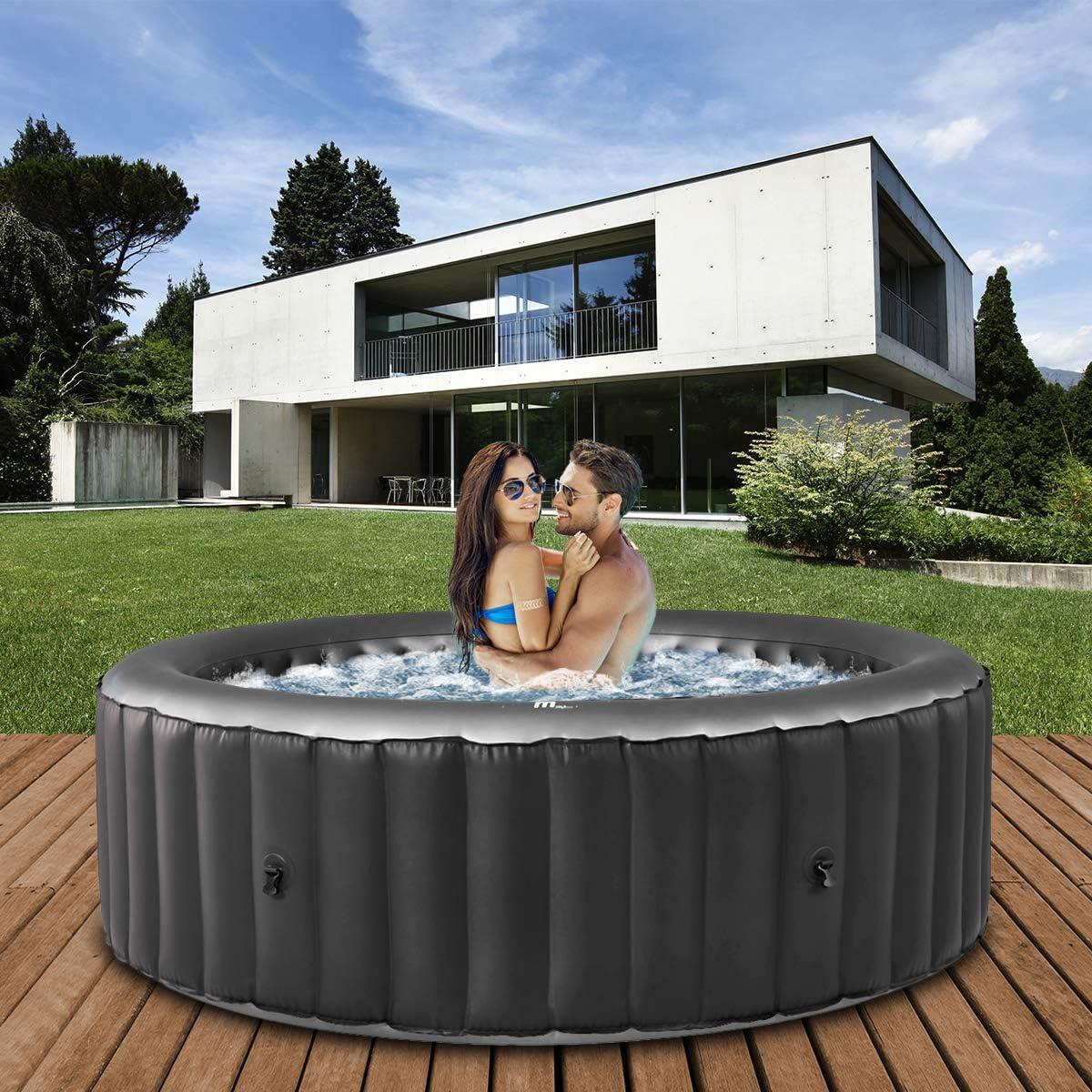 Miweba MSpa - Jacuzzi hinchable para exteriores, 6 personas, 132 boquillas, 185 x 185 cm, certificado TÜV GS, Alpine D-AL06, 930 litros