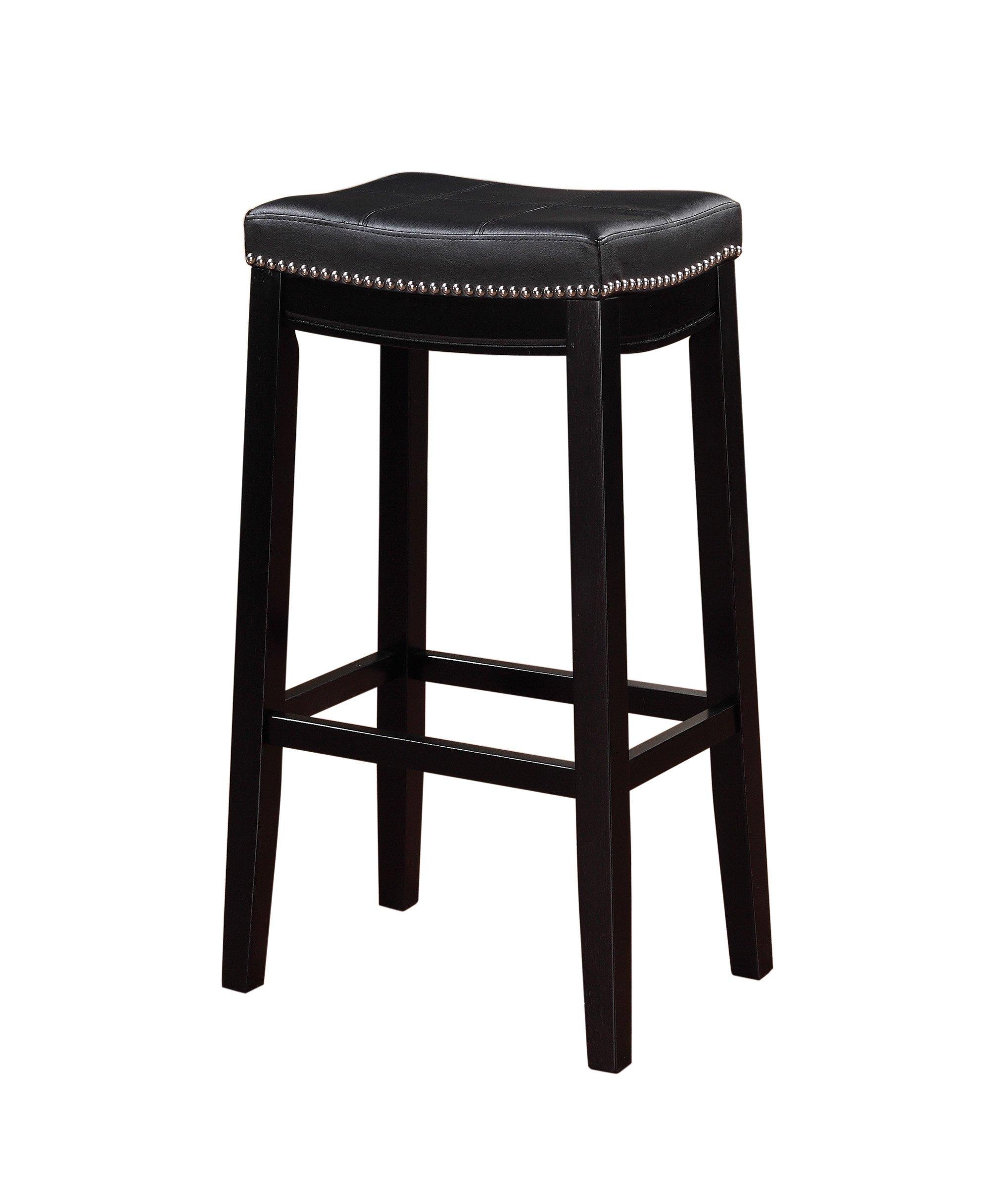 Linon 55816BLK01U Claridge bar Stool, 32'' x 18.75'' x 13'', Black