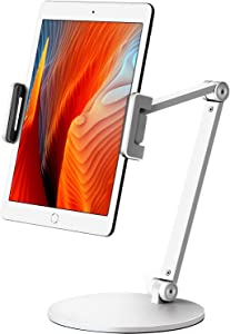 Viozon Tablet Stand Holder Mount, Rotate 360 Degrees of Flexible, Height and Angle Adjustable, High-Grade Aluminium Alloy Long Arm Compatible with 4.5-13 Mobile Phone and Tablet, iPhone, iPad(White)