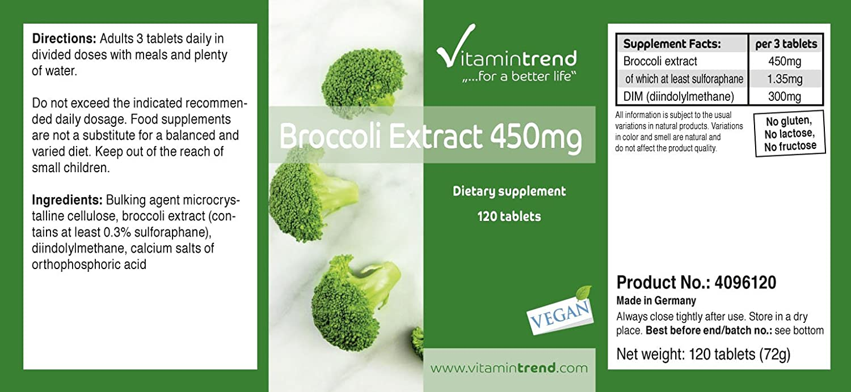 Tabletas de extracto de brócoli 450mg - 120 tabletas - con DIM (diindolilmetano) y sulforano - vegano - Aconsejado durante la menopausia o la menstruación: ...