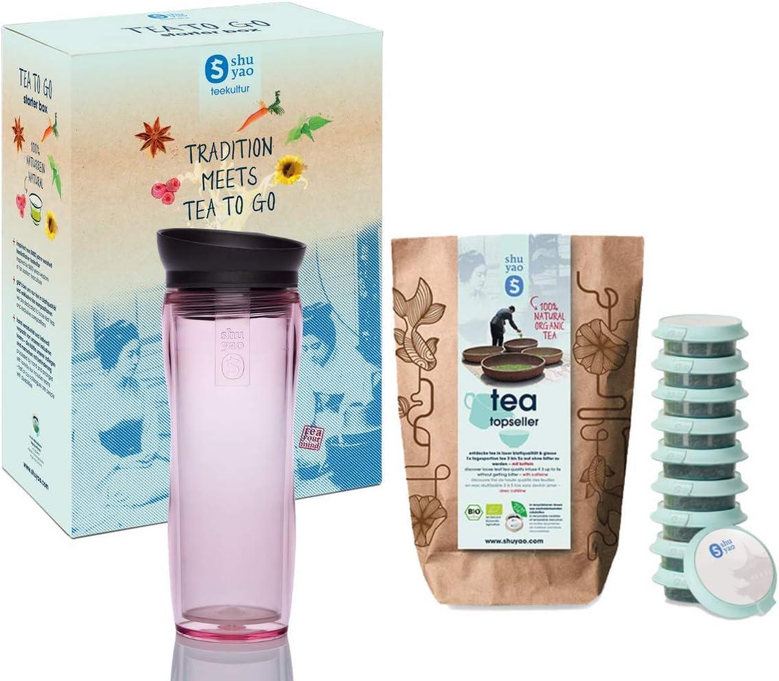 Shuyao Starter Box Tea To Go - Taza térmica (360 ml, con colador de té integrado y 10 té orgánico suelto de 30 g), color rosa