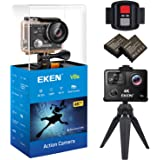EKEN V8s Native 4K EIS Action Camera Wifi Waterproof Sports Camera with 4K 25fps 2.7K 30fps 1080P 60fps Video 14MP Photo and 170 Wide Angle Lens includes 10 Mountings Kit 2 Batteries Black