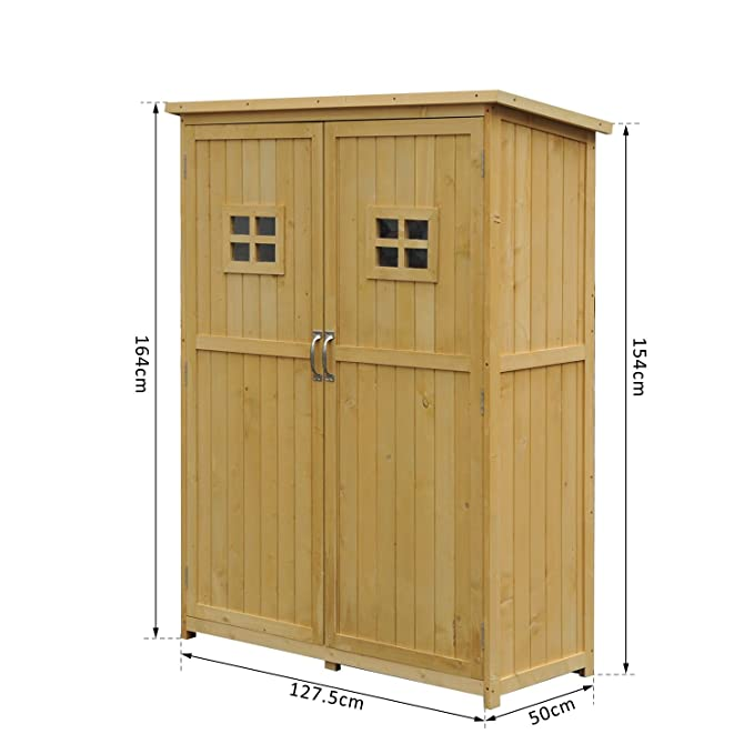 Outsunny - Cobertizo para jardín de doble puerta, madera 127 x 50 x 164 cm: Amazon.es: Jardín