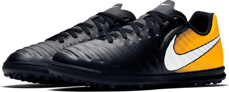 Nike JR Tiempox Rio IV TF Fußballschuhe, Unisex Kinder, schwarz – (schwarz Weiß-Laser orange-Volt)