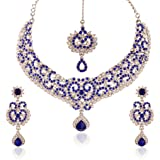 I Jewels Traditional Rhodium Plated Elegantly Handcrafted Stone Necklace Set with Maang Tikka & Earrings for Women M4042ZBl (Blue)