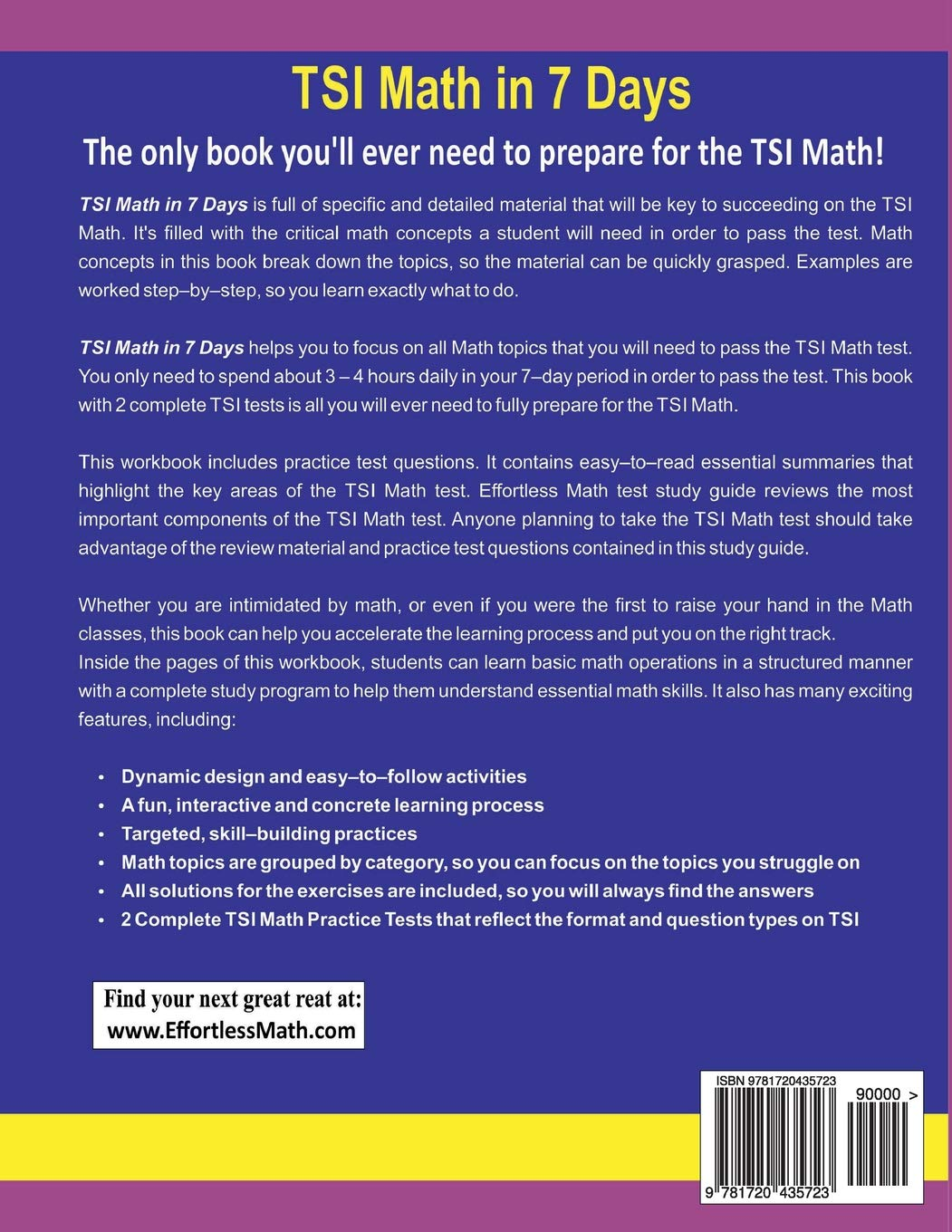 TSI Math in 7 Days: Step-By-Step Guide to Preparing for the TSI Math Test  Quickly: Reza Nazari, Ava Ross: 9781720435723: Amazon.com: Books