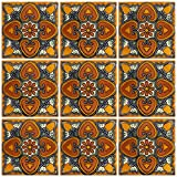 Ceramic Talavera Mexican Tile 4x4'', 9 Pieces (NOT Stickers) A1 Export Quality! - EX401