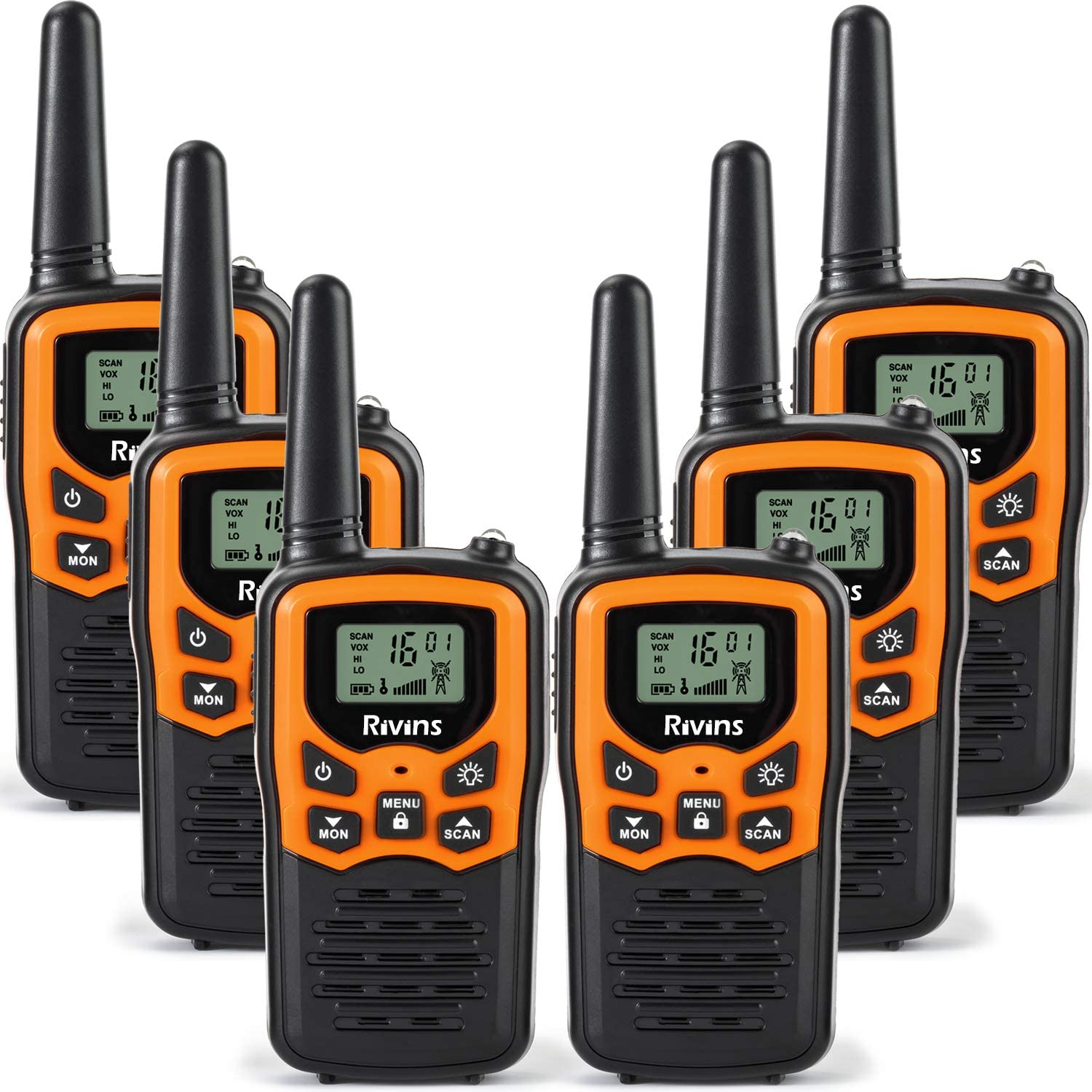 Rivins RV-7 Walkie Talkies for Adults Long Range 6 Pack 2-Way Radios Up to 5 Miles Range in Open Field 22 Channel FRS/GMRS Walkie Talkies UHF Handheld Walky Talky (Black/Orange)