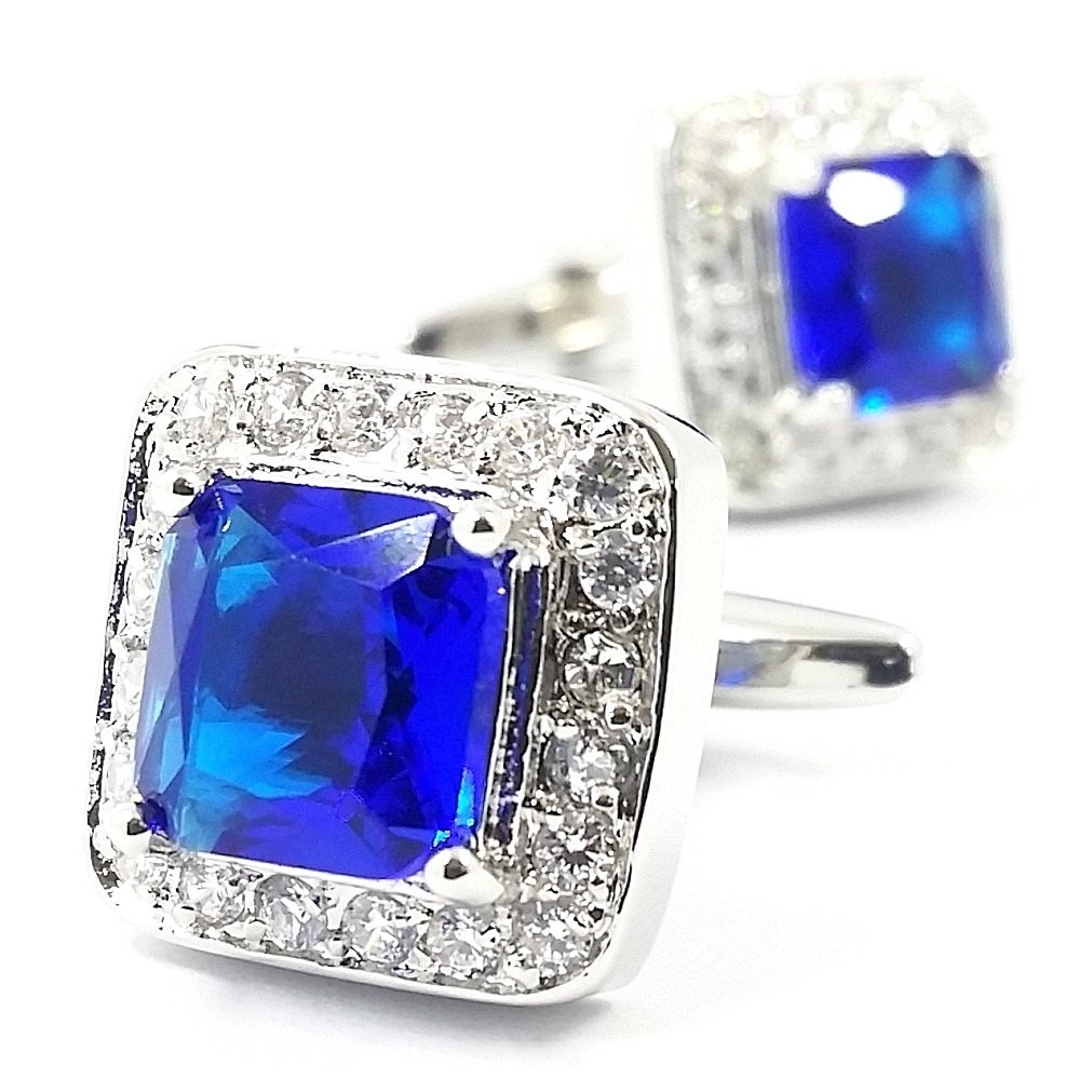 LBFEEL Big Blue Crystal Cufflinks for Men in Square Shape
