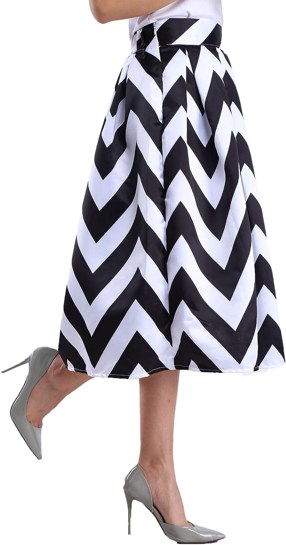 Afibi Womens African A-Line Print Knee Length Pleated Midi Skirt
